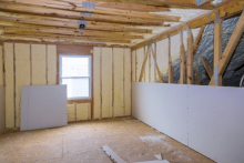 Attic walls lined with insulation material